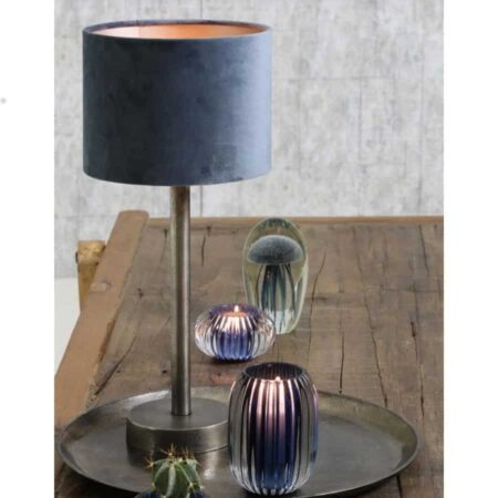 Light & Living Tischlampe UNDAI Lampenfuss roh Metall silber mit Lampenschirm aus Velours in Petrol Blau