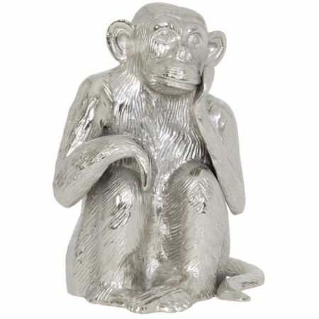 Light & Living Skulptur AFFE, Tierfigur MONKEY aus Metall in Silber