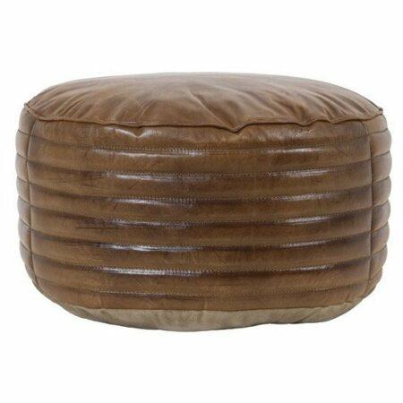 Sitzpouf LUKA aus Leder in Braun, rund, von Light & Living