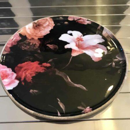 Schale LENTA, Teller aus Holz mit Blumenmuster - von Light & Living