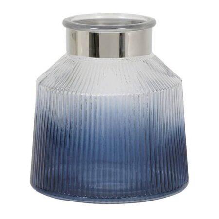 Windlicht PATRIX blau aus Glas in Meeresblau und Silber