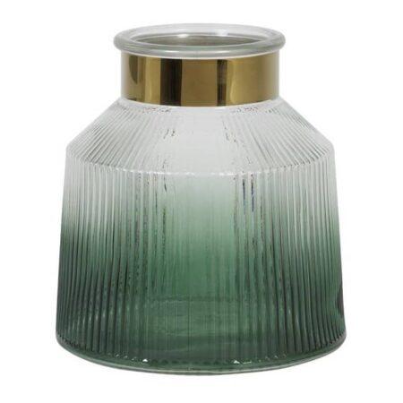 Windlicht PATRIX grün aus Glas in Meeresgrün und Gold