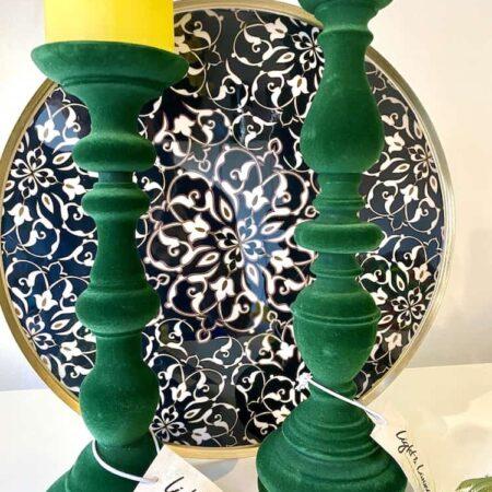 Kerzenleuchter MALMAN, dekoratives aus grünem Samt