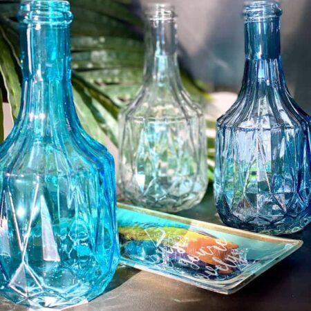 Vase, Flasche aus Glas im Blau Grau Mix im 3er-Set