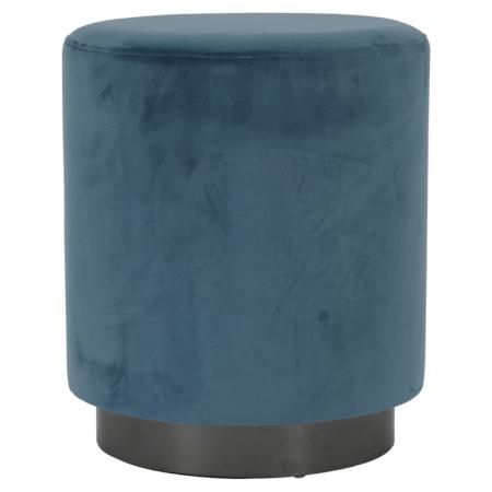 Hocker NADIEN blau, runder Sitzhocker aus Samt in blau von der Marke Light & Living