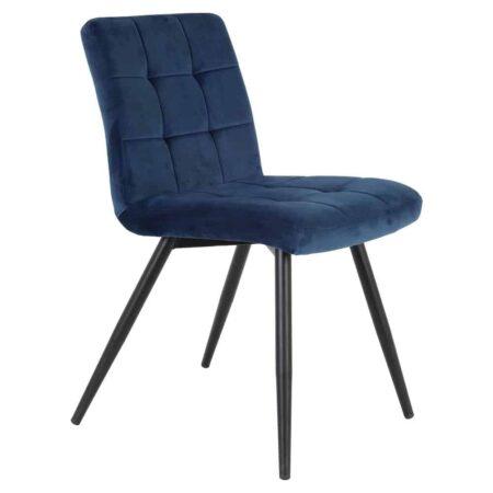 Esszimmerstuhl OLIVE blau, Stuhl in Blau aus zartem Samt von der Marke Light & Living