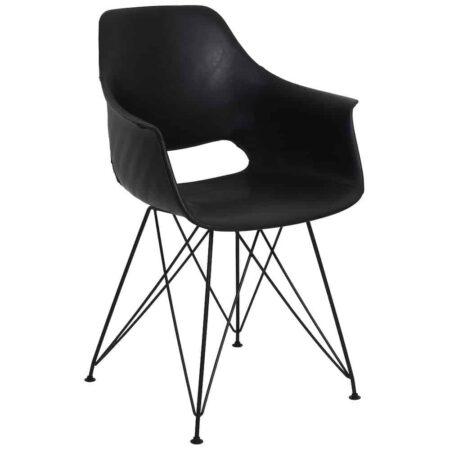Esszimmerstuhl SERBIN von Light & Living, Armlehnstuhl im 2er Set aus Kunstleder in pur schwarz