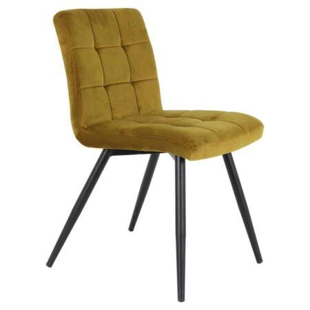 Esszimmerstuhl OLIVE - Stuhl in Ocker Gelb aus zartem Samt von der Marke Light & Living