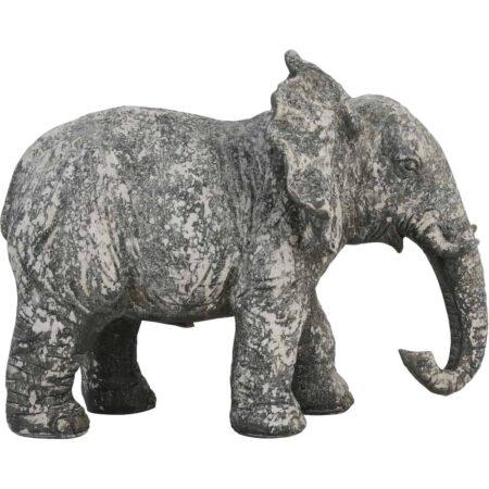 Skulptur, Tierfigur ELEFANTgrau melierter Elefant aus Feinkeramik/Beton