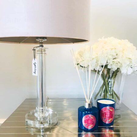 Tischlampe BORAVAN, kristall Glas mit einem Lampenschirm in zartem rosa aus Velours