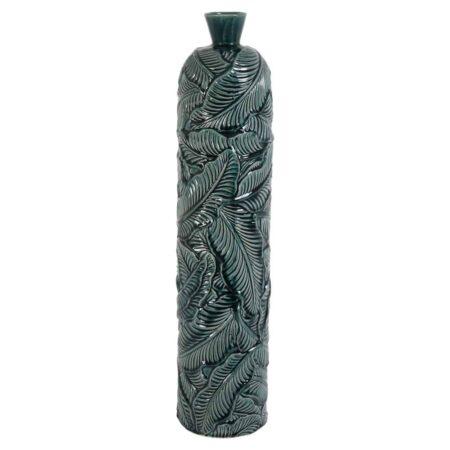 Vase LAVERO dunkel grün, sehr schöne und grosse Vase in dunkel Grün mit besonderem Blattmuster auf der Oberfläche