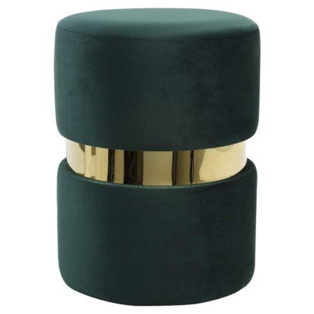 Hocker JAMEE aus Samt in grün gold von der Marke Light & Living