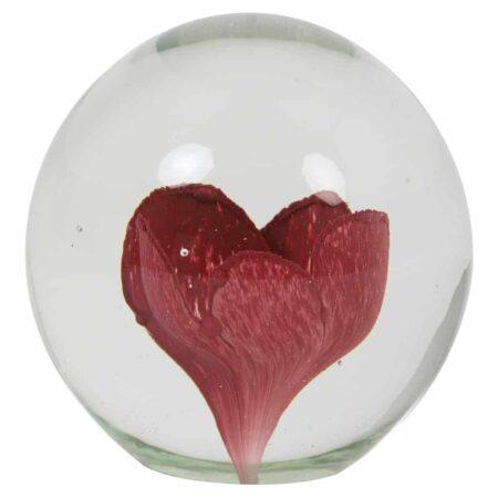 Light & Living Ornament FLOWER im Glas, Rosa Blume im Glas - sehr schön als Dekoration oder als Briefbeschwerer
