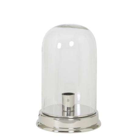 Tischlampe BOUALI, Silber mit Glasglocke, Höhe 35,5cm von Light & Living