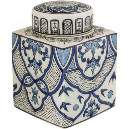 Keramikdose HONGKONG, blau weisse Keramik von Van Roon Living