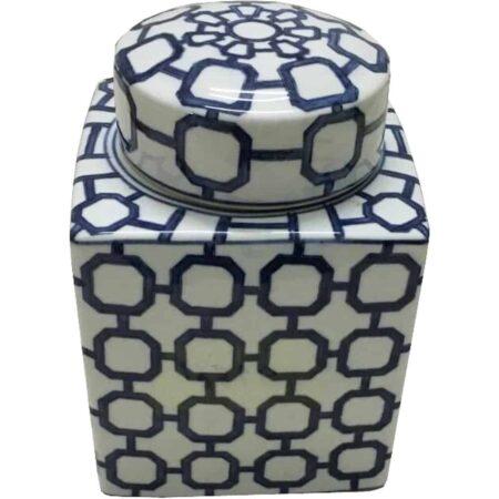 Keramikdose MOROCCON, blau weisse Keramik von Van Roon Living
