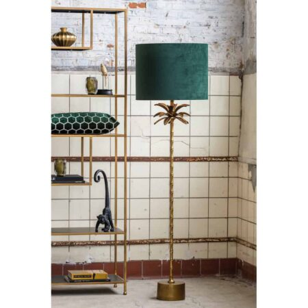 Stehleuchte ARMATA, mit Lampenfuss in Bronze in Form einer Palme mit einem Lampenschirm in dunkel grün aus Samt von Light & Living