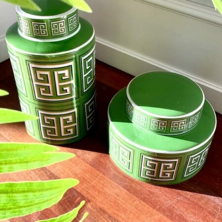 Keramikdose SANTORINI grün, Ø20x28 cm - von Van Roon Living
