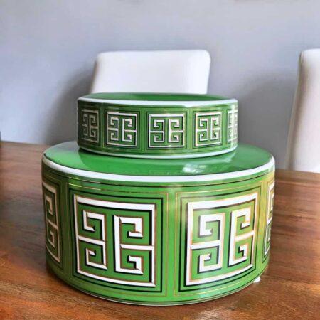 Keramikdose SANTORINI grün, Ø23x16 cm - von Van Roon Living