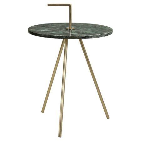 Beistelltisch MOYUTA 51cm, grün Marmor Tischplatte und goldene Tischfüße und Griff