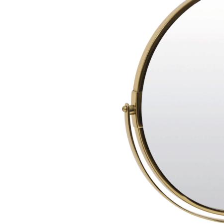 Kosmetikspiegel RIESCO von Light & Living, goldener runder Spiegel mit Marmorplatte in gruen