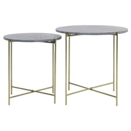 Beistelltisch DELON Marmor grün-gold, 2er-Set Tischplatte in Grün Marmor und Gestell goldfarben von Light & Living