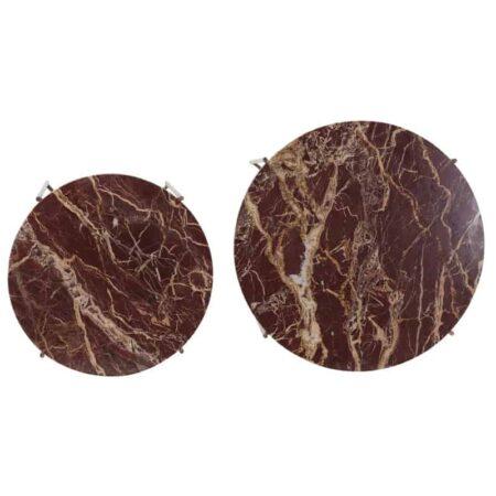 Beistelltisch DELON rot antik Bronze, 2er-Set Tischplatte in Rot und Gestell in antik Bronze von Light & Living