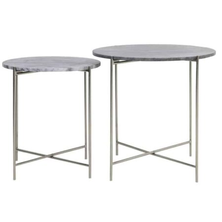 Beistelltisch DELON Marmor grau-Nickel, 2er-Set Tischplatte in Grau Marmor und Gestell silberfarben von Light & Living
