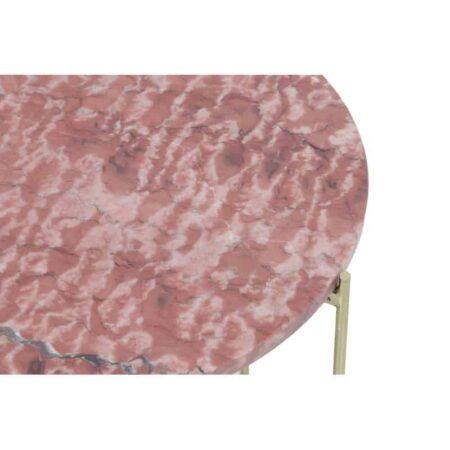 Beistelltisch DELON Marmor, 2er-Set Tischplatte in Rosa Marmor und Gestell goldfarben von Light & Living