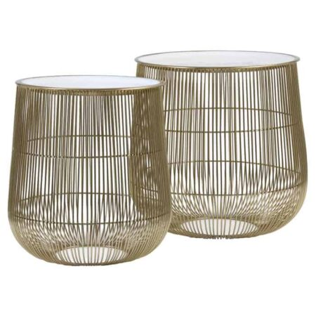 Beistelltisch SUNO weiss Bronze, Beistelltisch im 2er-Set- Bronzefarben und mit einer Tischplatte in weiss - von Light Living