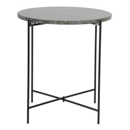 Beistelltisch QUILLON Marmor grün, Tischplatte aus Marmor in dunkel grün, Tischgestell aus Metall in schwarz von Light & Living