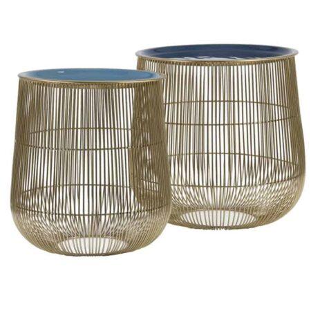 Beistelltisch SUNO Blau Bronze, Beistelltisch im 2er-Set- Bronzefarben und mit einer Tischplatte in blau - von Light Living