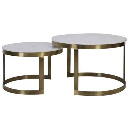 Couchtisch im 2er-Set, weiße Marmorplatte, Tischgestell antik Bronze - von Light & Living