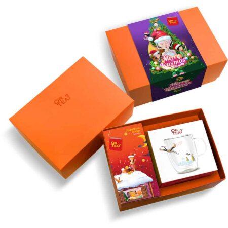 Geschenkbox Gingerbread Orange Tee + Teeglas, lecker Weihnachtstee mit praktischem doppelwandigen Teeglas Kranich von Or Tea
