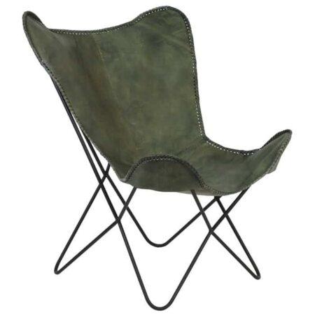 Stuhl BUTTERFLY grün, extravaganter Stuhl aus Leder in originellem Vintage Grün von Light & Living