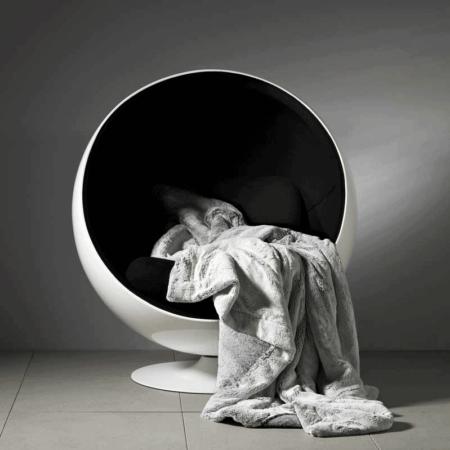 CARMA DECKE 'BABY PUMA' grau, Luxusdecke aus Webpelz, Schurwolle und Kaschmir von CARMA