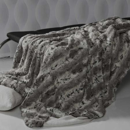CARMA DECKE 'CAPRA' grau, Luxusdecke aus Webpelz, Schurwolle und Kaschmir von CARMA