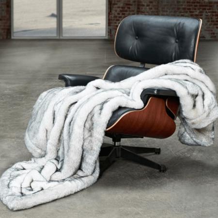 CARMA Decke 'HUSKY grau, Luxusdecke aus Webpelz, Schurwolle und Kaschmir von CARMA