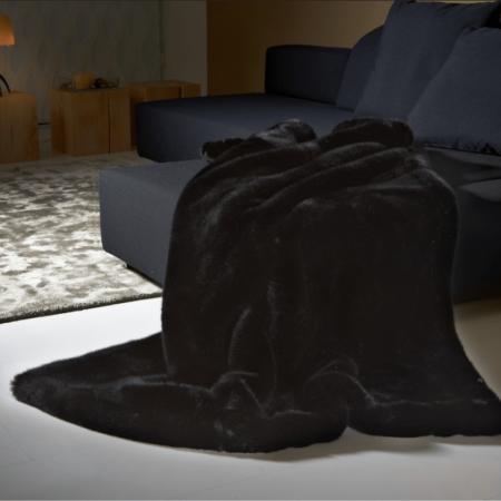 CARMA Decke 'PANTHER' schwarz, Luxusdecke aus Webpelz, Schurwolle und Kaschmir von CARMA