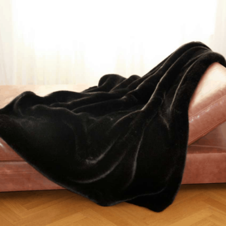 CARMA Decke 'PANTHER' braun, Luxusdecke aus Webpelz, Schurwolle und Kaschmir von CARMA
