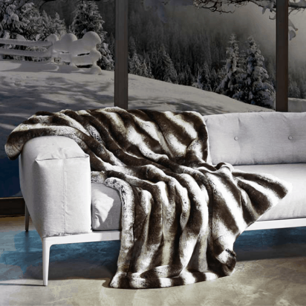 CARMA Decke 'VARI' grau, Luxusdecke aus Webpelz, Schurwolle und Kaschmir von CARMA