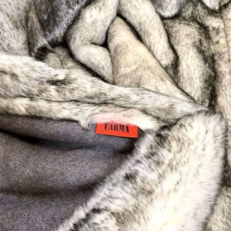 CARMA Decke 'HUSKY grau, Luxus PLAID aus Webpelz, Schurwolle und Kaschmir von CARMA