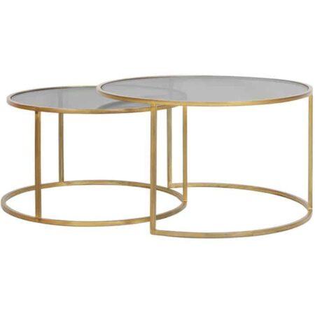 Couchtisch DUARTE in Gold mit Tischplatte aus Glas im Smoke Effekt - im 2er-Set von Light & Living