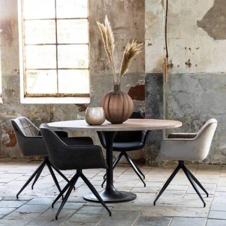 Inneneinrichtung Esszimmer, von hell grau bis dunkel grau und schwarz in zartem Samt von Light & Living - exklusiv bei GutRaum8