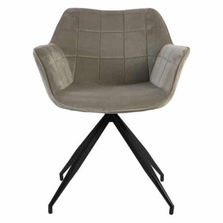Esszimmerstuhl JAIMY hell Grau + Schwarz Samt, extravaganter Stuhl von Light & Living