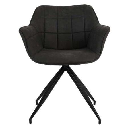 Esszimmerstuhl JAIMY tief Grau + Schwarz Samt, extravaganter Stuhl von Light & Living