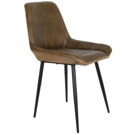 Esszimmerstuhl LABO, Stuhl aus LEDER in braun - Vintage-Stil