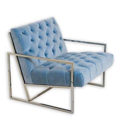 Loungesessel VELVET CLUB, Samt in Eis Blau mit silber farbendem Gestell