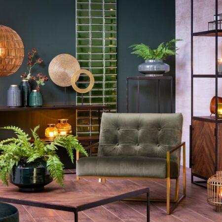 Möbel Kollektion von Light & Living, Tische Kollektion CHISA aus Holz und Sessel, Hocker aus Samt in grün