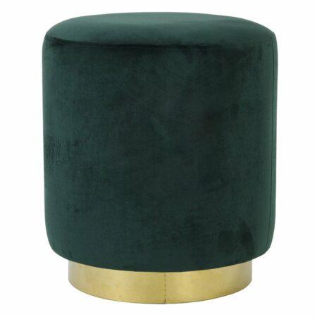 Hocker NADIEN grün, runder Sitzhocker aus Samt in grün von der Marke Light & Living